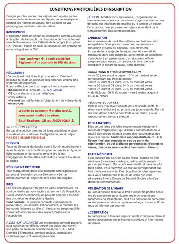 Conditions Particulières d'inscription en Centre de Vacances